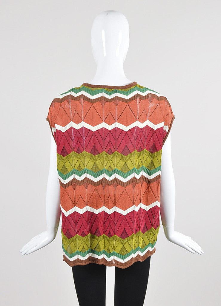 Multicolor M Missoni Cotton Blend Knit Zig Zag Sleeveless Top Backview