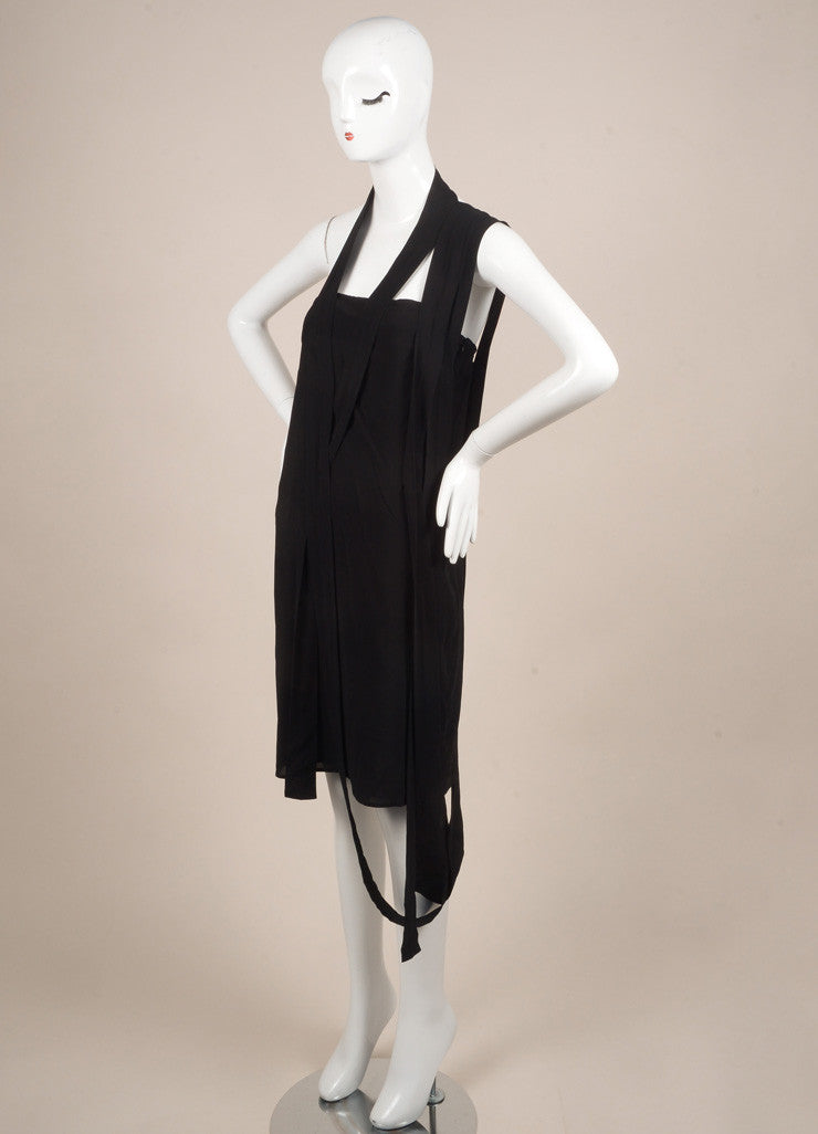 Maison Martin Margiela New With Tags Black Jersey Strappy One Shoulder Dress Sideview