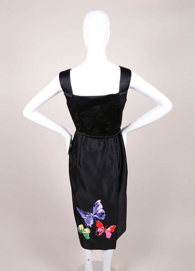 Marc Jacobs New With Tags Black Butterfly Sequin Print Sleeveless Midi Sheath Dress Backview