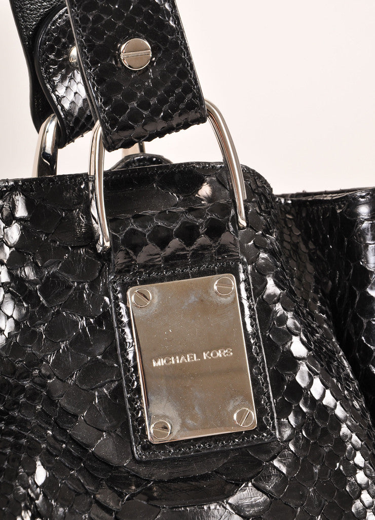 Michael Kors Collection Black Snakeskin Handbag Detail 2