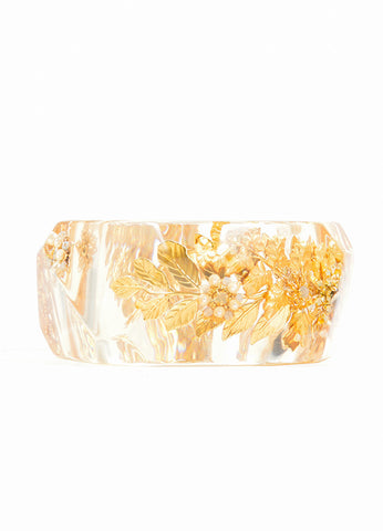Miriam Haskell Gold Toned Faux Pearl Leaf and Flower Oversized Bangle Bracelet Detail