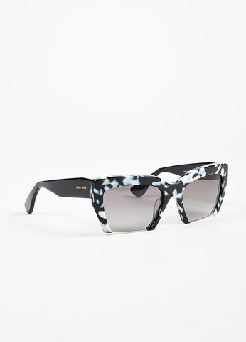 "Miu Miu Black and White Havana Rimless ""Rasoir"" Cateye Sunglasses Sideview"