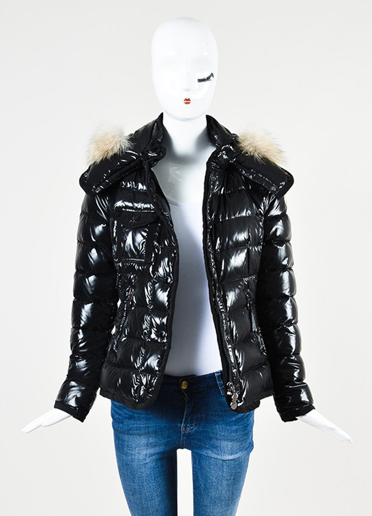 "Moncler Black Nylon Quilted Fur ""Armoise"" Down Puffer Coat Jacket Frontview"