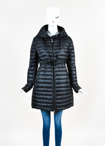 Black Moncler Down Puffer Hooded Zip Coat Front 2