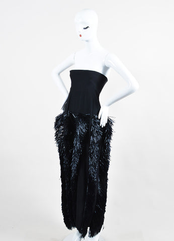 Moschino Black Raffia Fringe Full Length Strapless Dress Sideview
