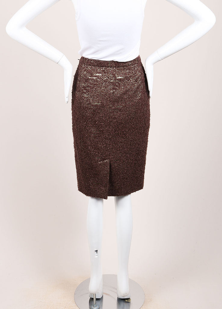 Moschino Cheap and Chic New With Tags Brown Metallic Gold Wool Boucle Pencil Skirt Backview
