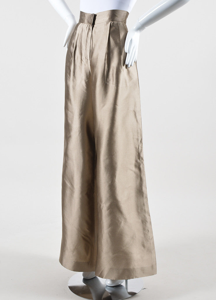Oscar de la Renta Metallic Taupe Pleated High Waisted Wide Leg Trousers Sideview