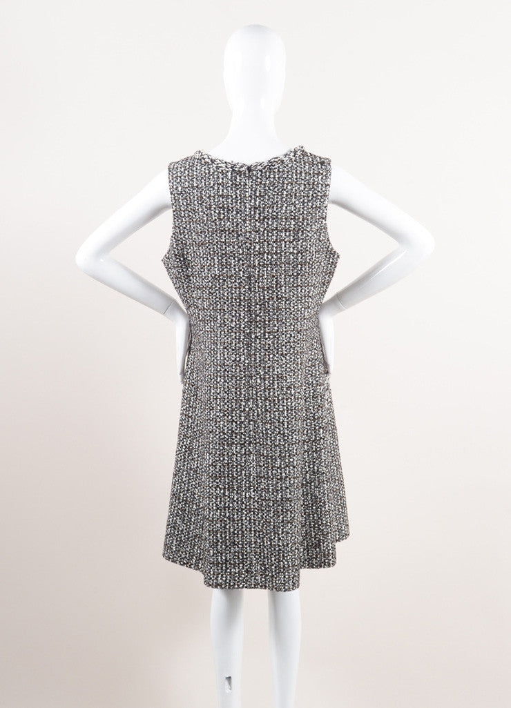 Oscar de la Renta New With Tags Brown and Cream Wool Blend Tweed Sleeveless V-Neck Dress Backview