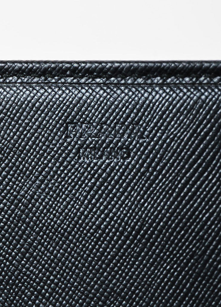 Prada Black Saffiano Leather Gold Toned Metal Trifold Continental Wallet Brand
