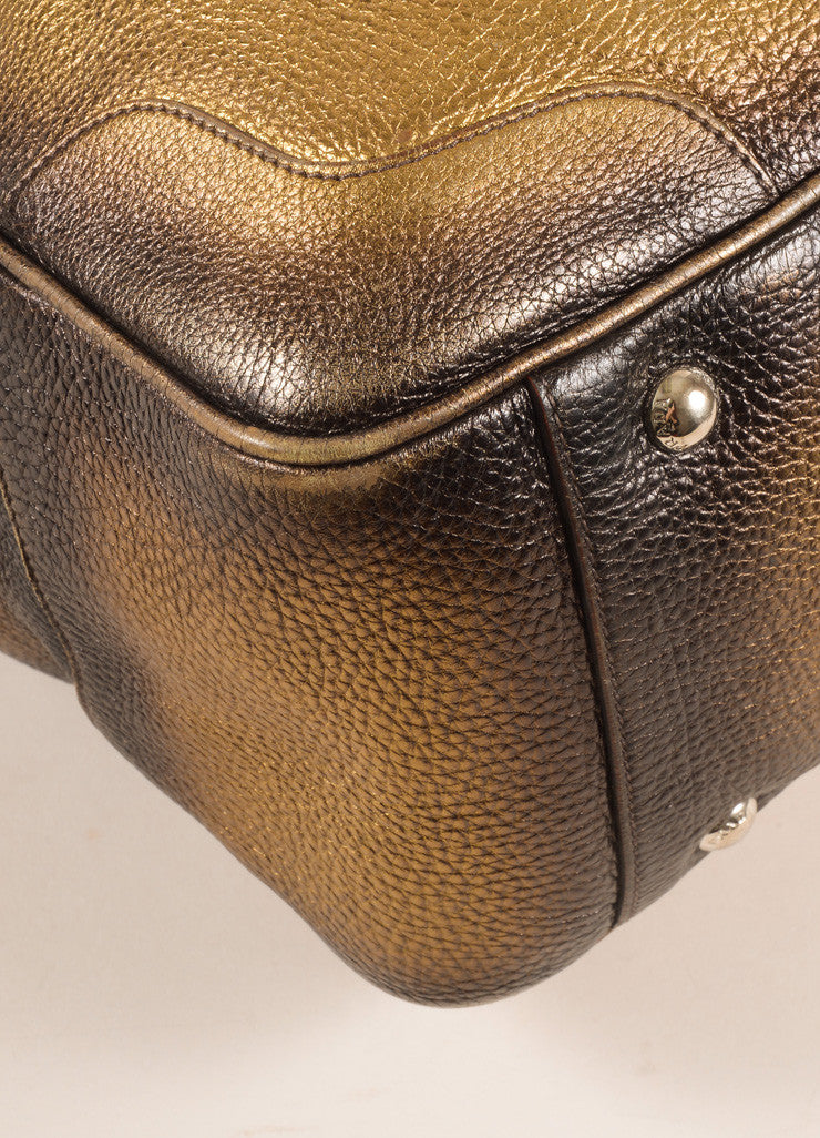 Prada Bronze and Gold Pebbled Leather Ombre Structured Tote Bag Detail