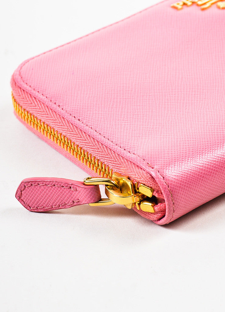 Prada Pink Gold Toned Saffiano Leather Zip Around Wallet Detail
