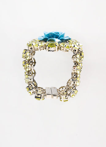 Prada Silver Toned, Light Green, and Blue Crystal Resin Flower Chain Statement Bracelet topview