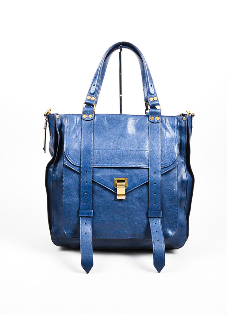 "Navy Blue Proenza Schouler Leather ""PS1"" Large Tote Bag Frontview"