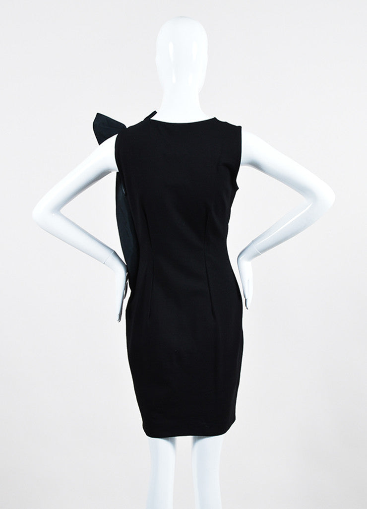 Red Valentino Black Knit Asymmetrical Shoulder Bow Sleeveless Stretch Cocktail Dress Backview