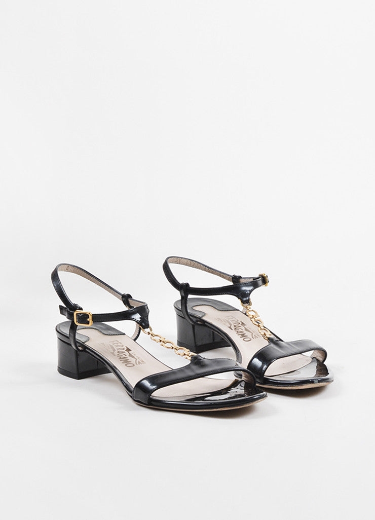 Black Salvatore Ferragamo Patent Leather Chain T-Strap Sandals Front