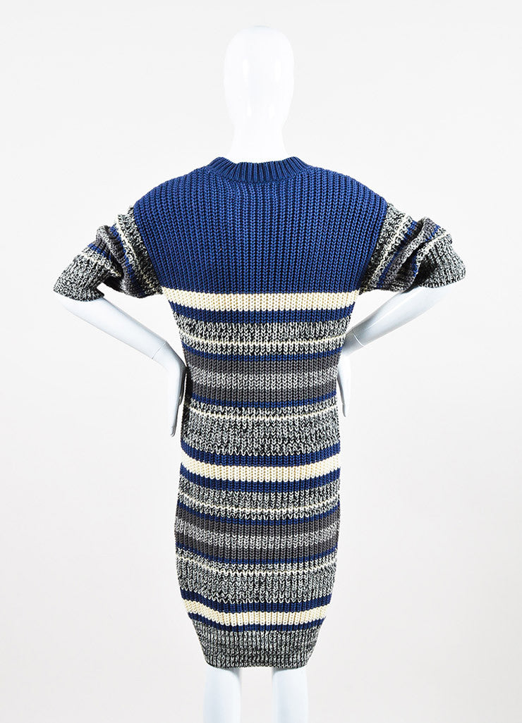 Self-Portrait Blue and Cream Cotton Knit Striped Short Sleeve Sweater Dress Backview