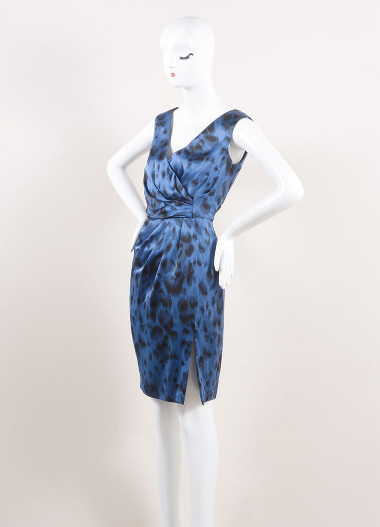 Stella McCartney New With Tags Blue and Black Silk Leopard Print Sleeveless Dress Sideview