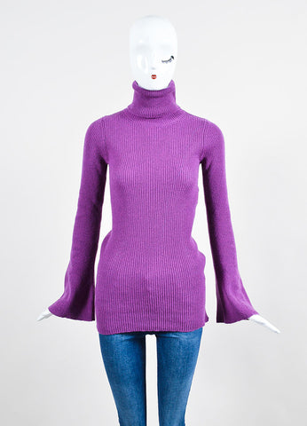 Stella McCartney Fuchsia Wool Ribbed Knit Turtleneck Sweater Frontview