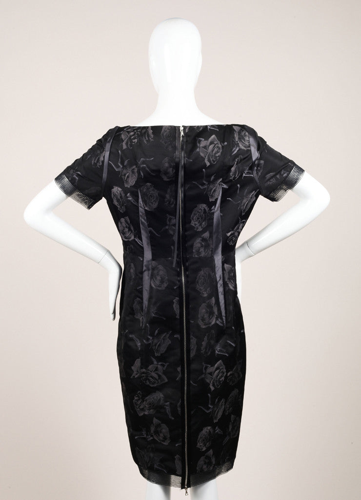 Thakoon Black Mesh Silk Abstract Rose Print Sheath Dress Backview
