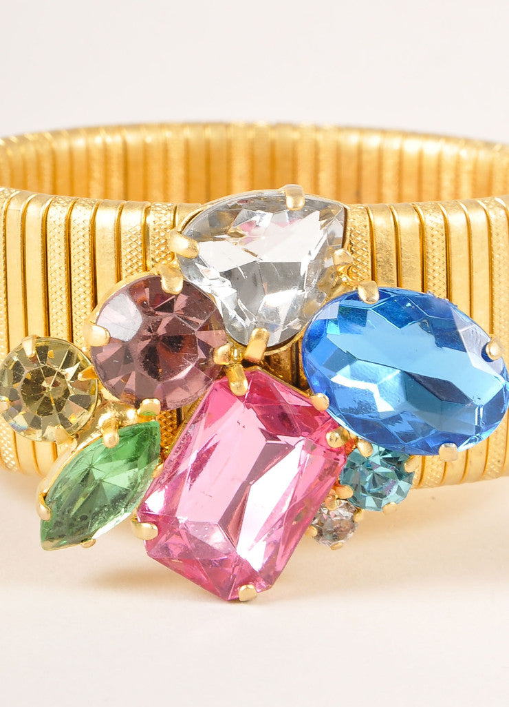 Vintage Gold Toned and Multicolor Rhinestone Gem Cluster Stretch Band Bracelet Detail