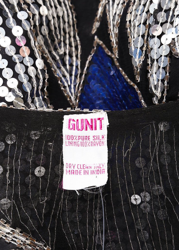 Gunit Black, Silver, and Blue Butterfly Sequin Asymmetric Hem Draped Blouse Brand