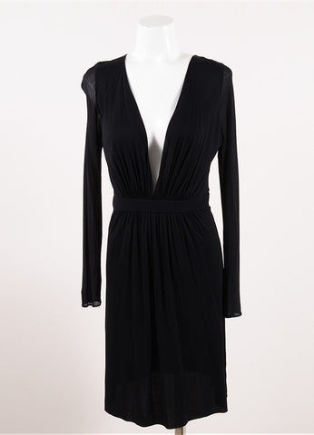 Zamasport for Gucci Black Deep V-Neck Long Sleeve Gathered Waist Dress