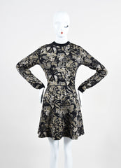 Black and Beige Valentino Metallic Floral Long Sleeve Sweater A-Line Dress Frontview