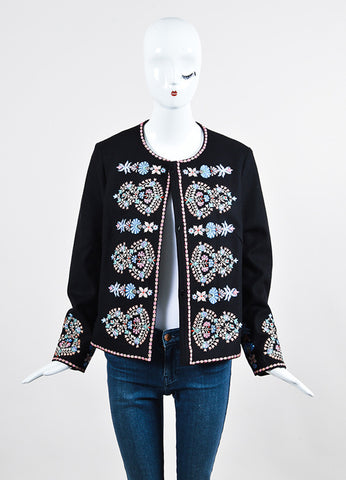 "Black and Multicolor Vilshenko Wool Embroidered ""Lara"" Jacket Frontview"