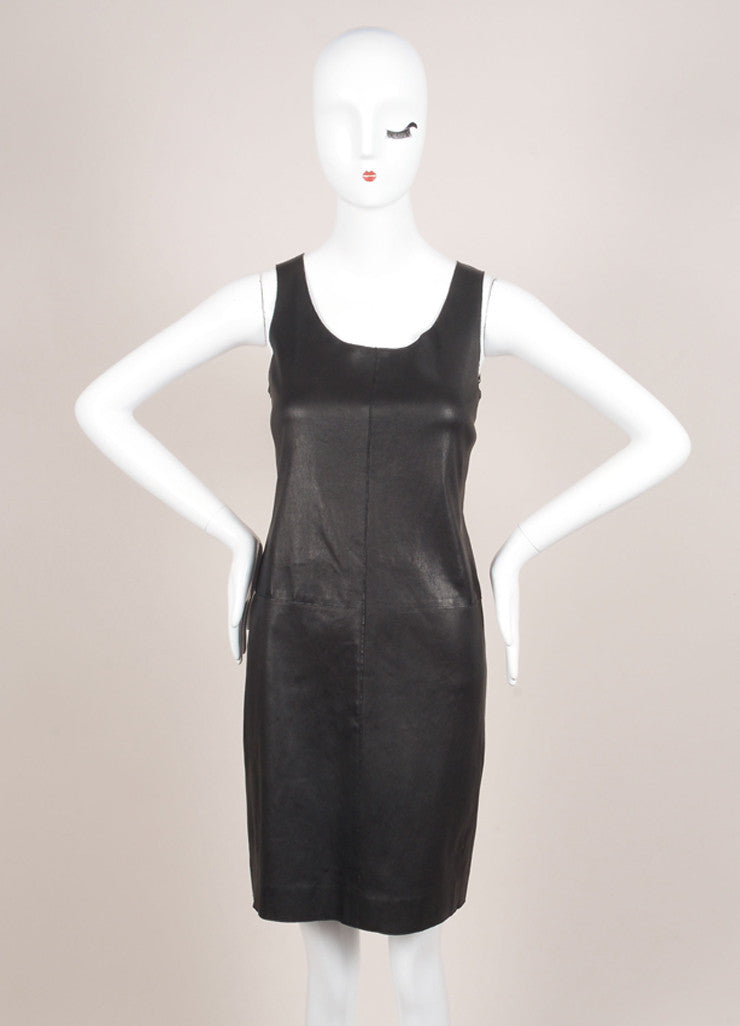 Vince New With Tags Black Leather Knit Contrast Sleeveless Dress Frontview