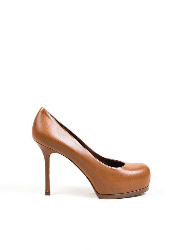"Brown Leather YSL Yves Saint Laurent ""Tribtoo 80"" Pumps Side"