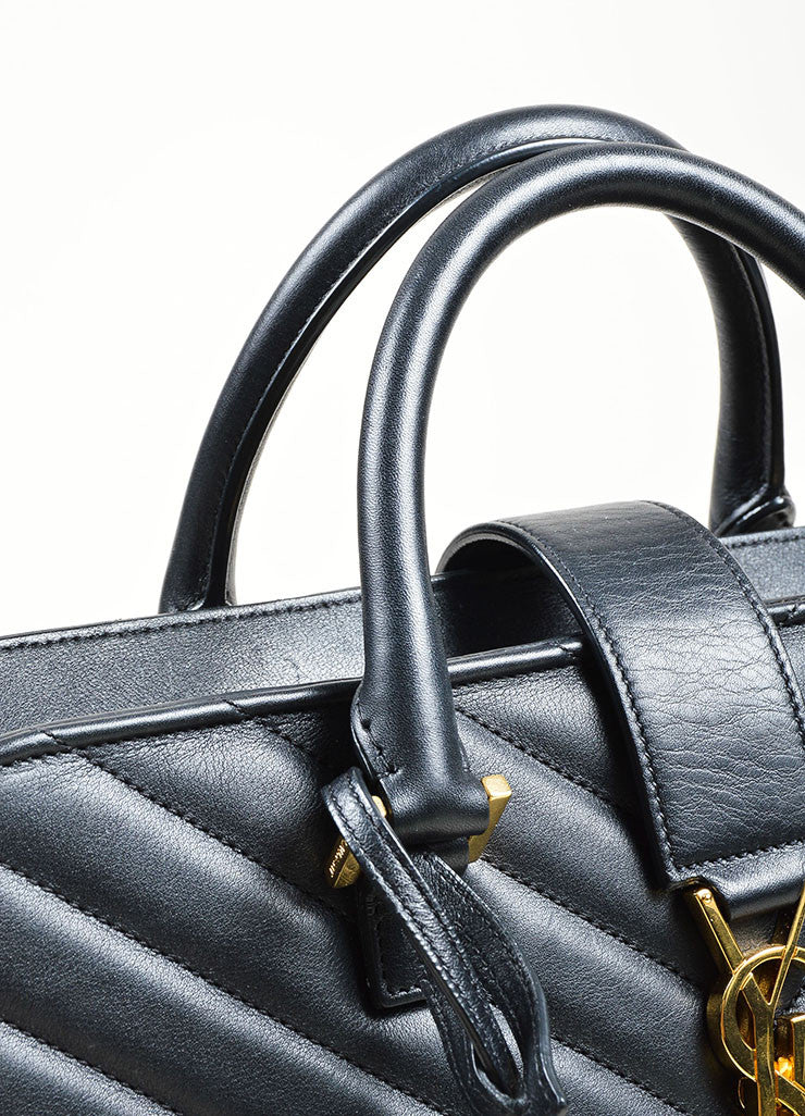 Black Yves Saint Laurent Quilted Leather Monogram Matelasse Satchel Bag Detail 2