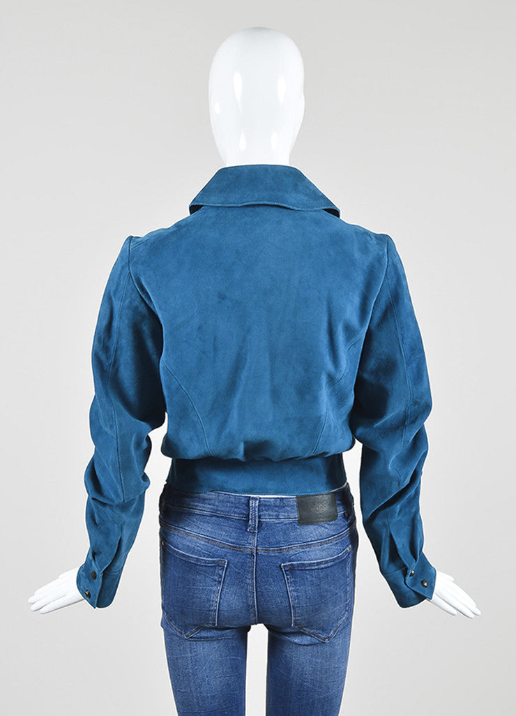 Cerulean Blue Yves Saint Laurent Suede Leather Zip Up Motorcycle Jacket Backview