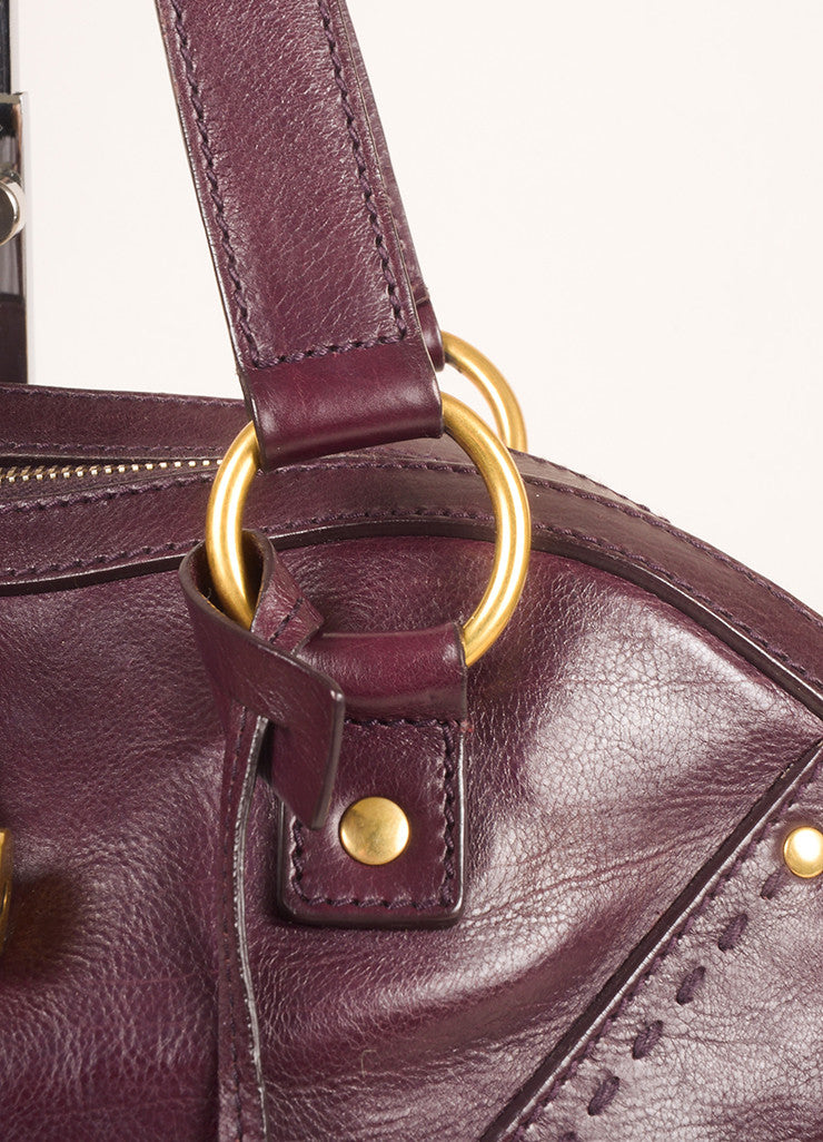 "Yves Saint Laurent Maroon Calfskin Leather Large ""Muse"" Handbag Detail 2"