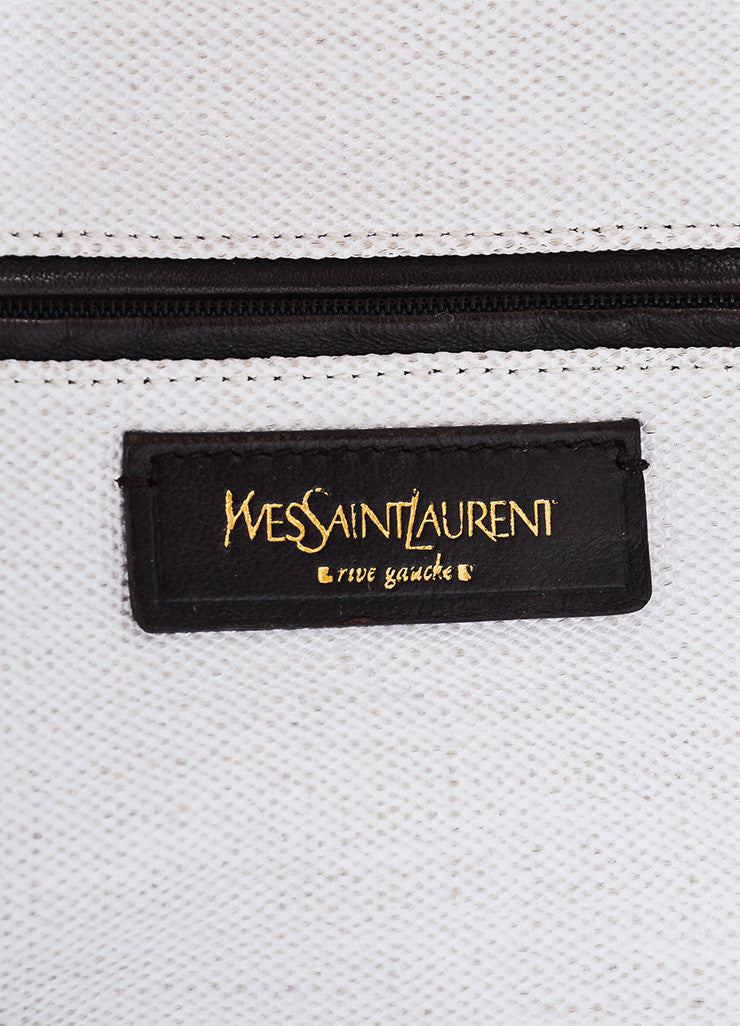 "Red and White Yves Saint Laurent Rive Gauche Canvas ""Raspail"" Painted Tote Bag Brand"