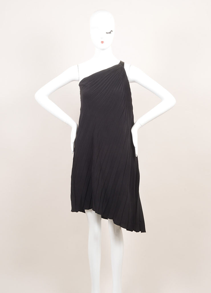 Dior New With Tags Black Silk Pleated  Asymmetrical One Shoulder Dress Frontview