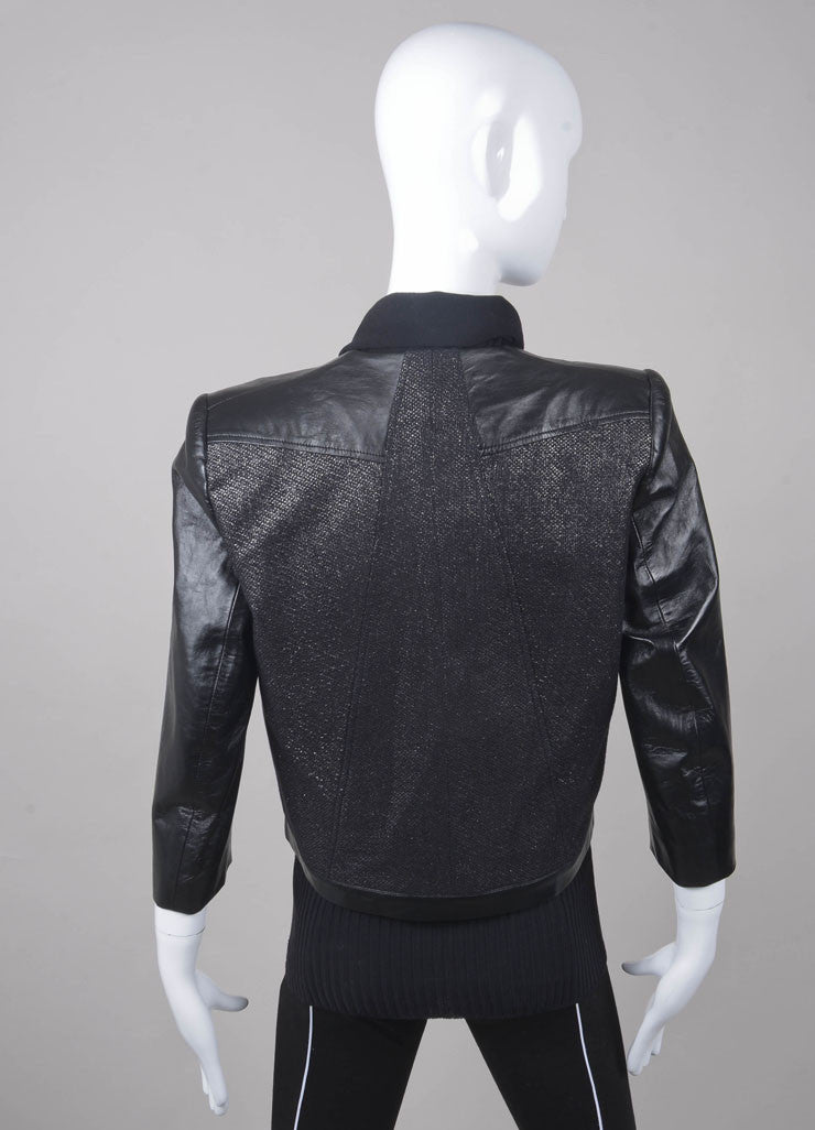 New With Tags Black and Silver Leather Panel Jacket