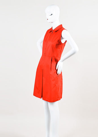 Red Armani Collezioni Stretch Cotton Sleeveless Zip Collar Shirt Dress