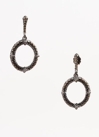 "Armenta Sterling Silver, 18K Gold, and Diamond ""New World"" Oval Drop Earrings Frontview"
