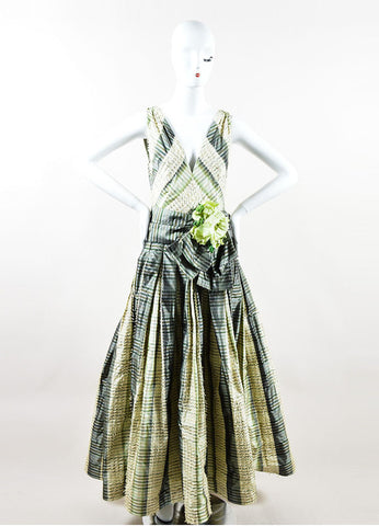 Green and Cream Bill Blass Taffeta Striped Fringe Trim Flower Pin Gown Frontview