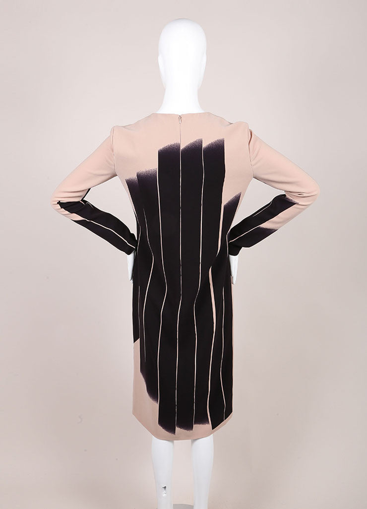 "Bottega Veneta New With Tags Black and Beige ""Faded Lines"" Printed Long Sleeve Sheath Dress Backview"