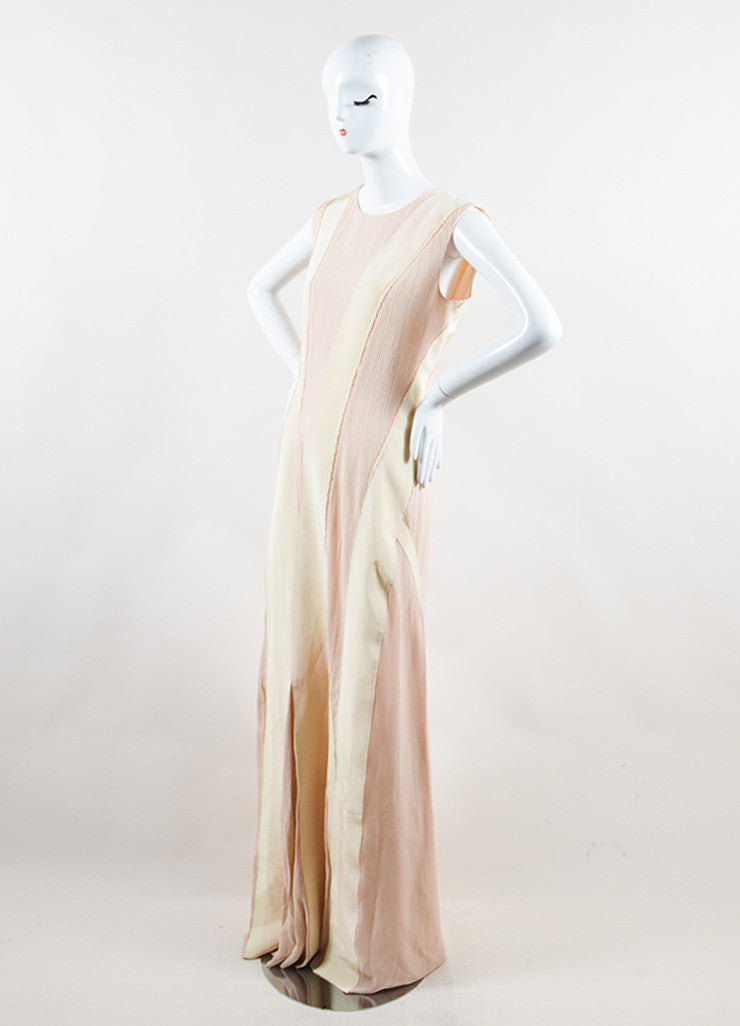Bottega Veneta Blush and Cream Sleeveless Floor Length Evening Gown Sideview