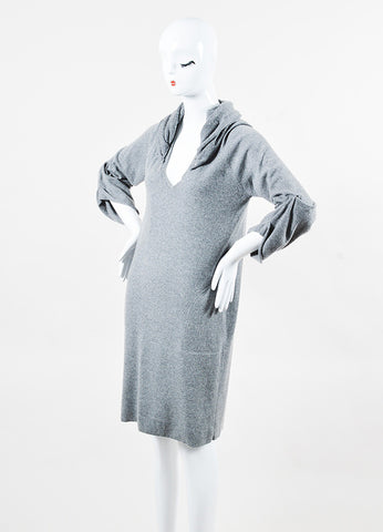 Brunello Cucinelli Gray Cashmere Sequin Hood Draped Sleeve Sweater Dress angle