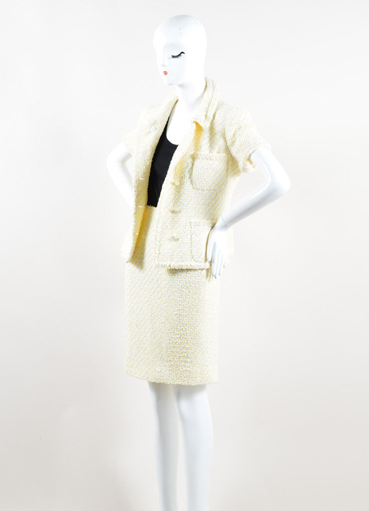 Chanel Yellow and White Woven Tweed Skirt Suit Side