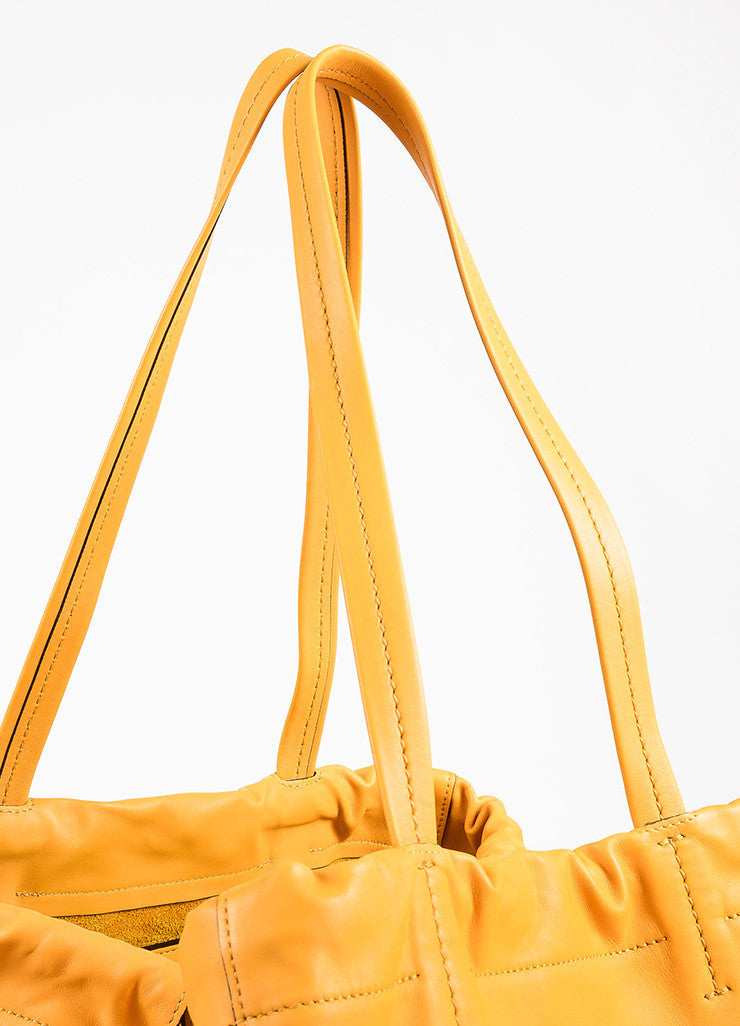 "Celine ""Daffodil"" Yellow Leather ""Large Coulisse"" Drawstring Tote Bag Detail 3"