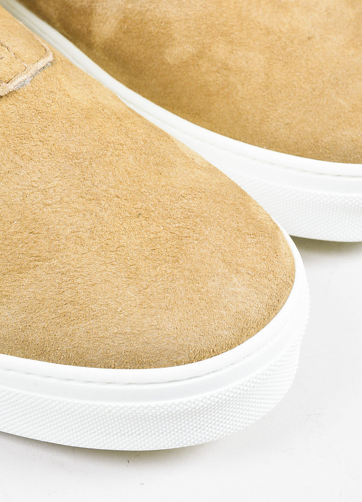 Tan Celine Suede Shearling Lined Zipper High Top Sneaker Boots Detail