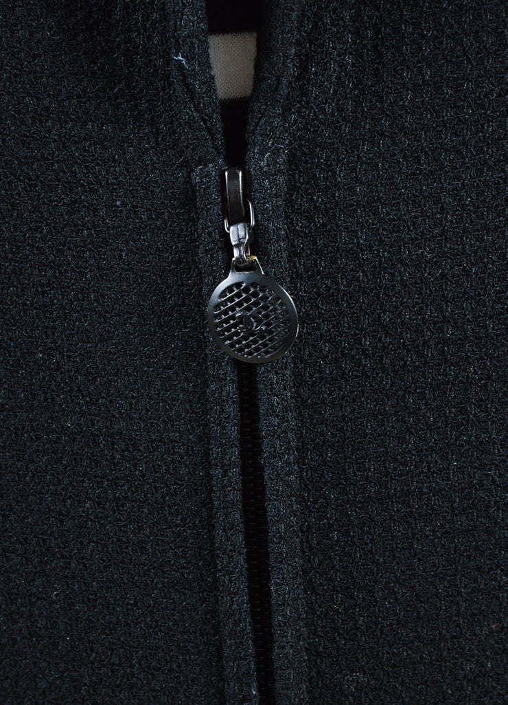 Chanel Black Wool Blend Textured Ruffle Hem Zip Jacket Detail