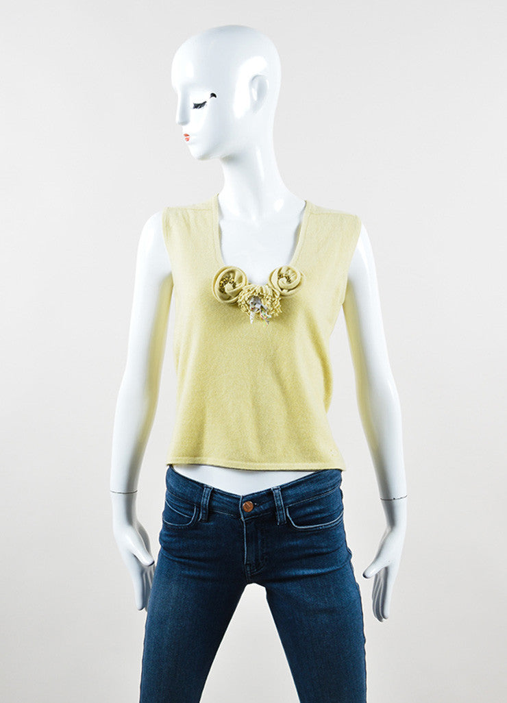 Chanel Chartreuse Cashmere Embellished Pin Cardigan and Shell Set Frontview 2