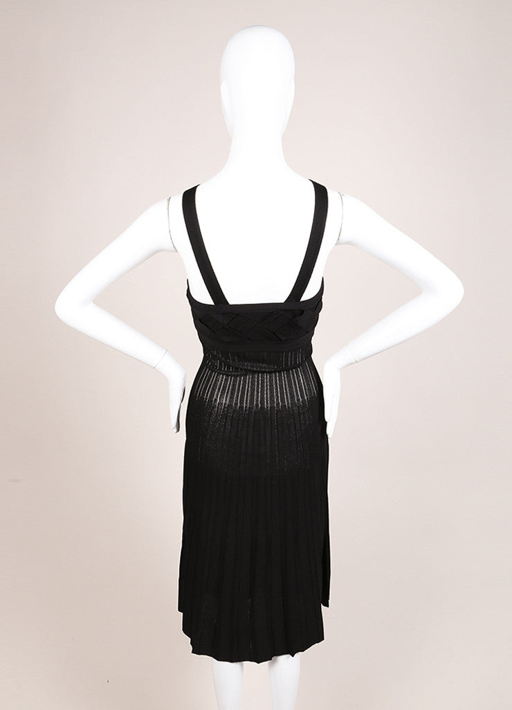 Chanel Black Knit Woven Pleated Empire Waist Sleeveless Dress Backview