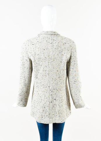 Chanel Grey and Multicolor Wool Metallic Tweed Logo Clip Long Sleeve Pea Coat Backview