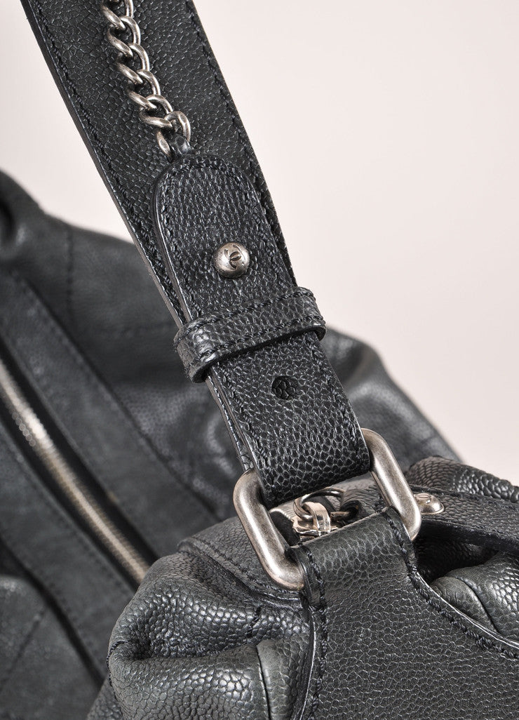 "Chanel Black Caviar Leather Diamond Stitched ""CC"" Logo Chain Detail Hobo Bag Detail 2"